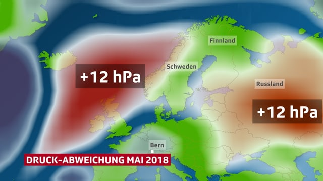 Europa-Karte mit Luftdruck