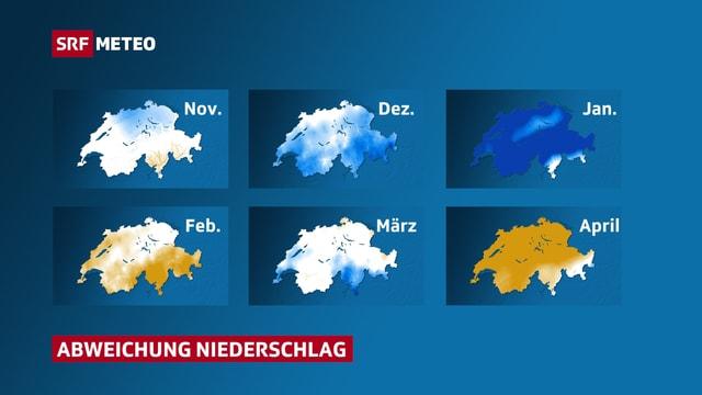 Niederschlagsabweichung der letzten sechs Monate in der Schweiz.