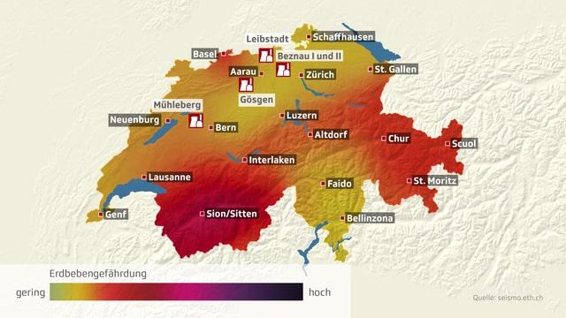 Illustrierte Karte der Schweiz mit eingezeichneten Städten, erdbebengefährdeten Regionen und Standorten der Atomkraftwerke