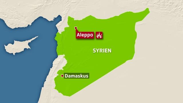 Karte mit Aleppo