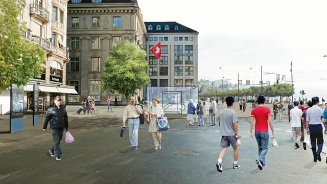 Eine Fotomontage des Schwanenplatzes mit Metrostation.