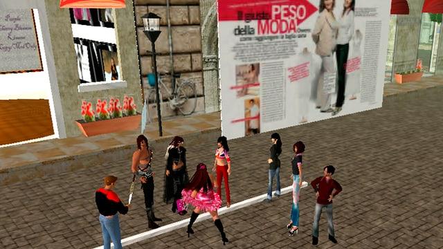 Eine Gruppe von Avataren in Second Life vor einem Spieleplakat.