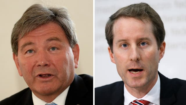 Porträtbild von Res Schmid und Thomas Aeschi SVP Bundesratskandidaten aus der Zentralschweiz.