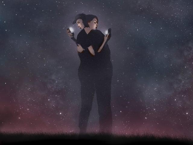 Illustration eines Paares in der Nacht, das sich umarmt und dabei jeweils auf ein Smartphone starrt.