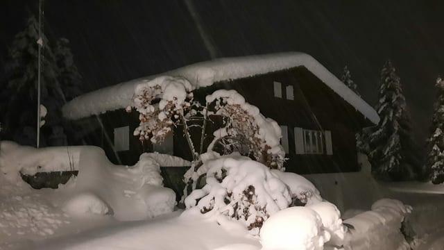 Schneelandschaft in der Nacht bei Müstair.