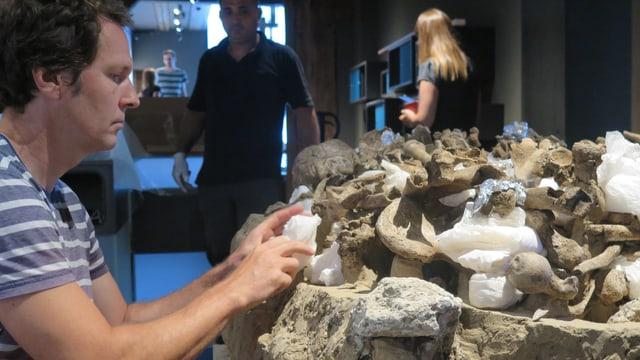 Archäologischer Mitarbeiter packt jungsteinzeitliches Grab aus Verpackung aus.