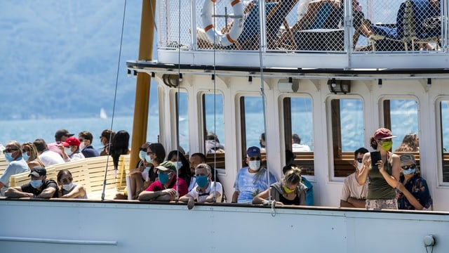 Schiffspassagiere mit Maske auf dem Genfersee.