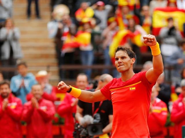Rafael Nadal bejubelt seinen Sieg.