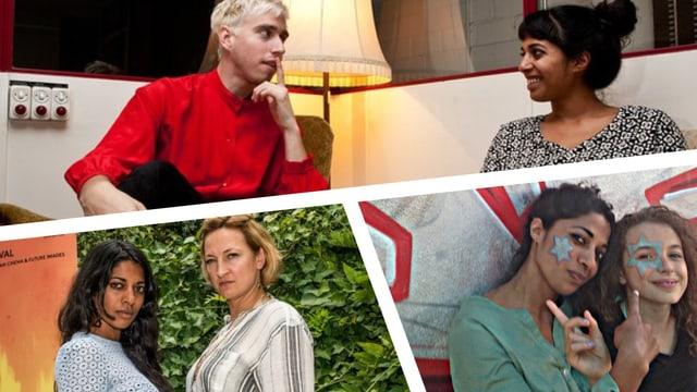Collage: Reena mit Zoë Bell, Bilderbuch und Lia