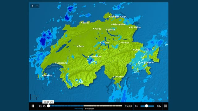 Regenradar von SRF Meteo: www.srf.ch/meteo/radar