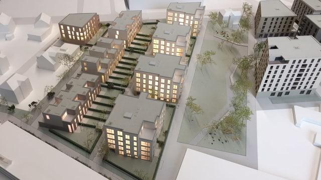 Modell des neuen Aeschbachquartiers aus der Luft