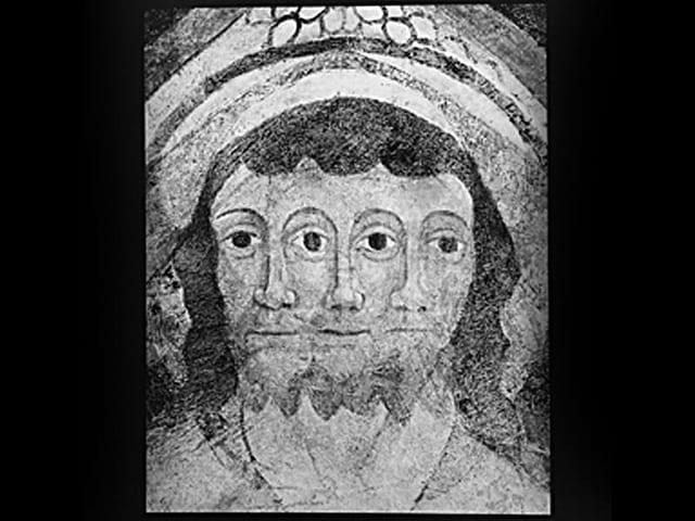 Darstellung der Dreifaltigkeit, um 1500 Deckenmalerei