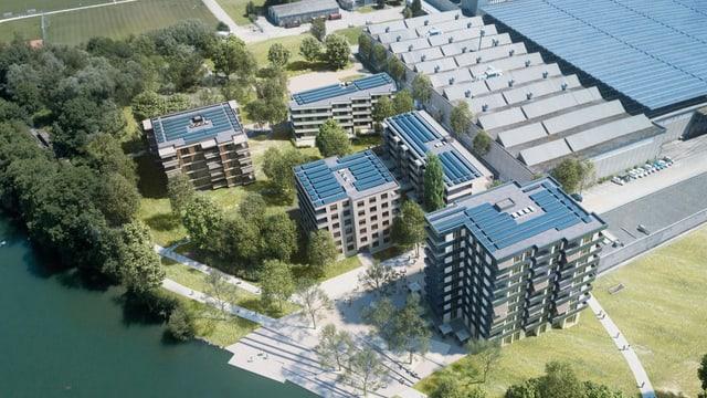 Luftaufnahme bzw. Visualisierung, im Vordergrund neue Wohnblöcke, im Hintergrund grosse Fabrikhallen