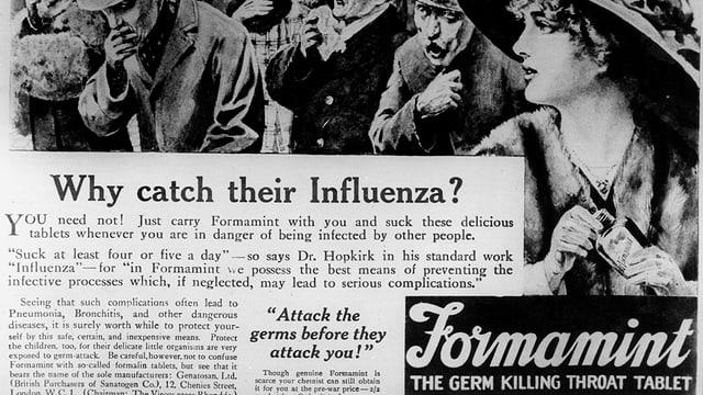 Eine alte, ullustrierte Werbeanzeige für ein Medikament