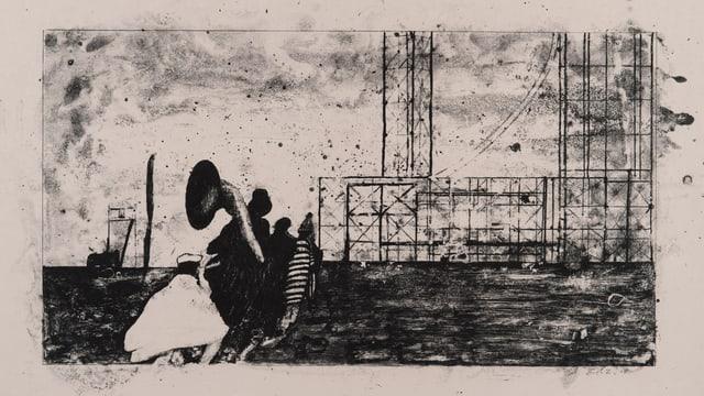 Lithografie zeigt eine Art metallisches Gerüst über bewegtem Wasser, im Vordergrunf eine Personengruppe mit Instrumenten.