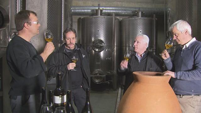 Der Wein, der in Tonamphoren tief in der Erde reifte, wird von den Fachleuten degustiert.