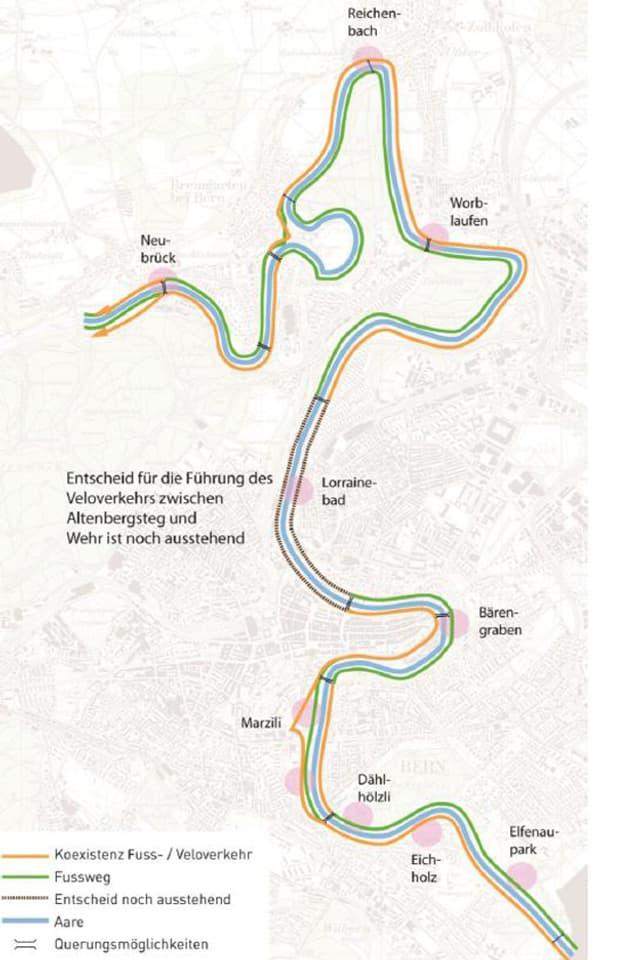 Der Plan zeigt das ganze komplette «Aareschlaufen»-Projekt.