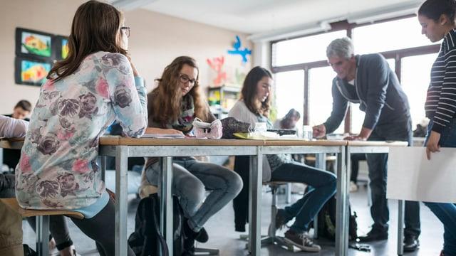 Schulklasse während des Unterrichts.