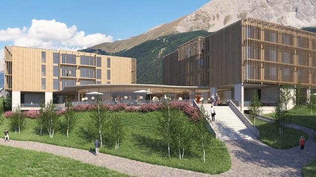 Fotomontage des geplanten Hotels aus Holz