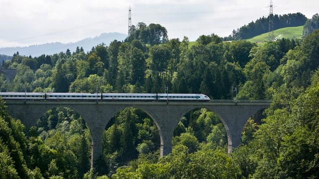 Zug fährt über Brücke