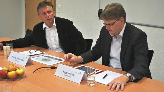 Die RWO-Verantwortlichen mit Roger Michlig (rechts) ziehen selbstkritisch Bilanz.