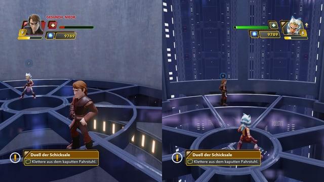 Anakion und Ahsoka teilen sich den Bildschirm.