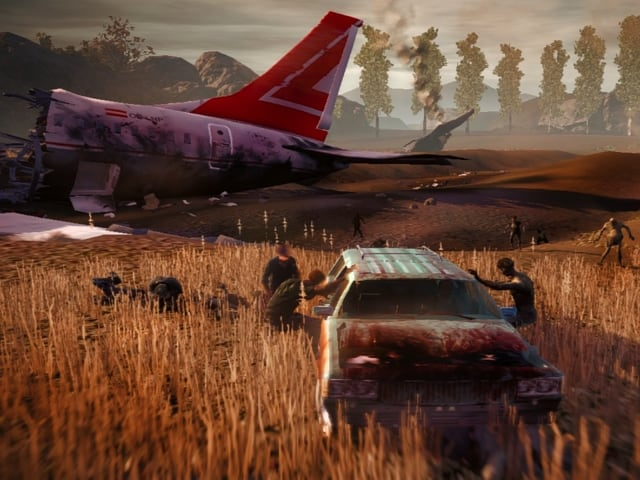 Zombies greifen ein Autowrack an.