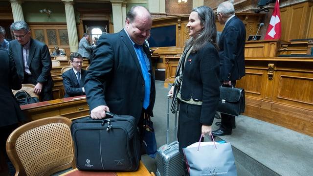 Nationalrätin Yvette Estermann (hier mit ihrem SVP-Parteikollegen Felix Müri) will in die kleine Kammer wechseln.
