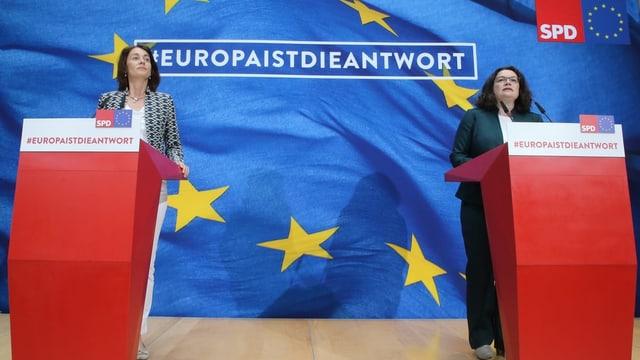 Katharina Barley ed Andrea Nahles da la SPD.
