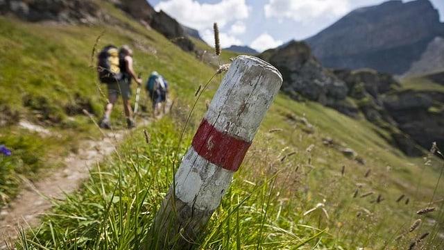 Ein Pfosten inmitten einer Berglandschaft ist rot-weiss bemalt, als Kennzeichen für die Wanderer.