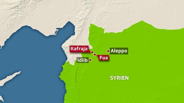 Karte von Syrien. Eingezeichnet sind Aleppo und die Schiitendörfern Fua und Kefraja.