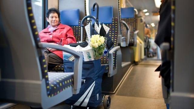 Frau sitzt in S3-Zug, vor sich hat sie einen Einkaufswagen und ein Strauss gelbe Rosen schaut heraus.