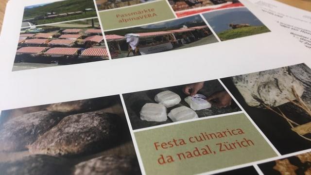 Blick ins Heft von Graubünden Viva. Verschiedene Bilder zeigen Bündner Spezialitäten.
