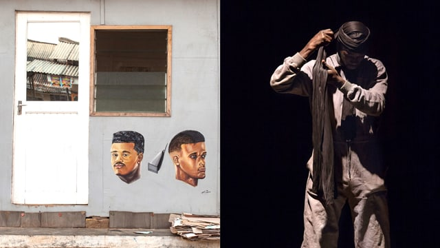 Zweigeteiltes Bild. Rechts ist ein Mann der einen Turban bindet, links eine mit zwei Köpfen bemalte Häuserwand.
