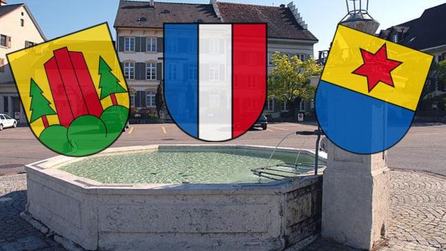 Brunnen in Gelterkinden mit Wappen