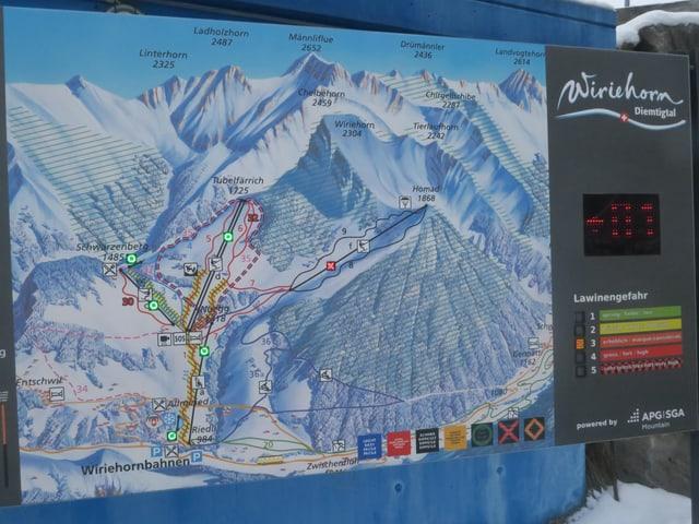 Plan mit den Skiliften am Wierihorn
