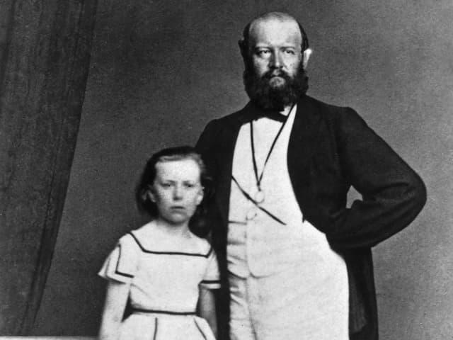 Alfred Escher mit Tochter Lydia um 1865