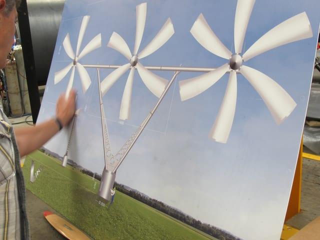 So sieht die neuartige Dreifach-Windanlage aus, wenn sie fertig ist.