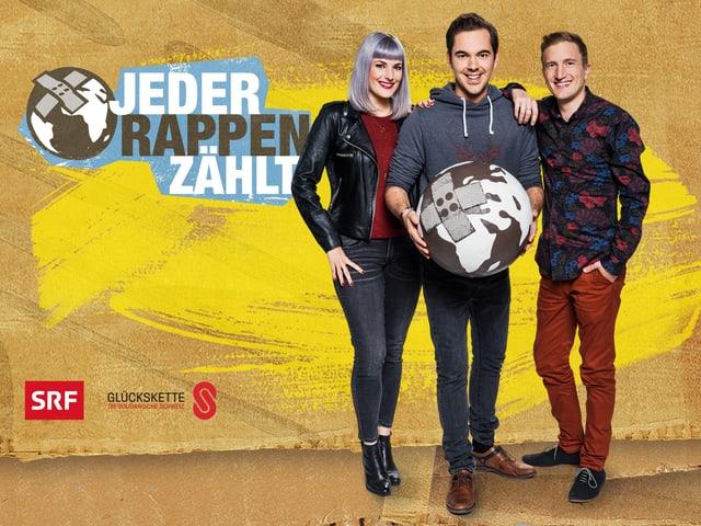 Tina Nägeli, Fabio Nay und Stefan Büsser moderieren «Jeder Rappen zählt».
