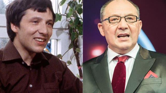 Zei Porträt-Bilder von Beni Thurnheer nebeneinander. Das linke zeigt ihn als junger Mann in den 70er Jahren mit braunem Hemd. Das rechte zeigt ihn in einer aktuellen Aufnahme mit Brille, Glatze, grünlichem Anzung und roter Krawatte.