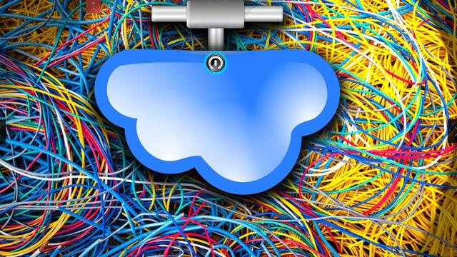 Grafik einer symbolisierten Wolke; im Hintergrund ein Kabeldurcheinander in den Google-Farben.