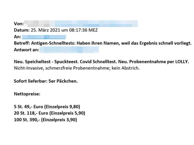 Auszug E-Mail