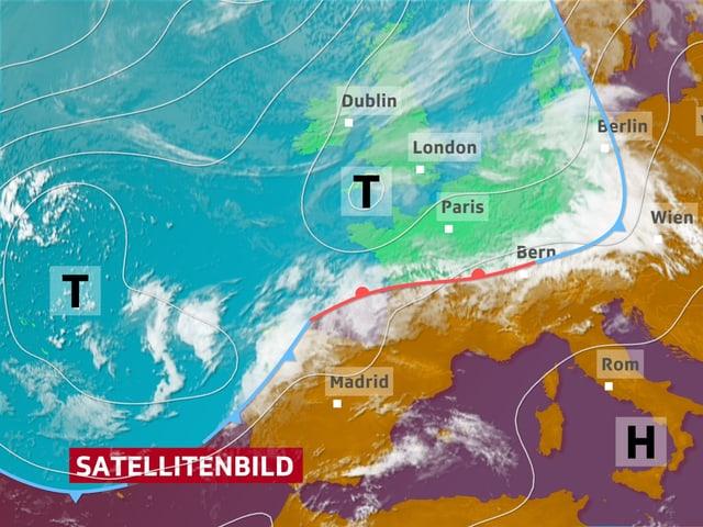 Ein Satellitenbild von Europa. Über dem Mittelmeer liegt wärmere Luft, über dem Atlantik kältere Luft.