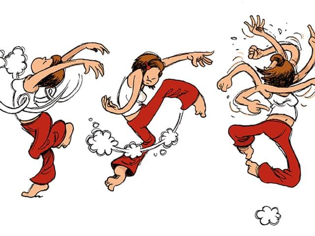 Drei Zichnungen nebeneinander: Sie zeigen die gleiche Frau in drei verschiedenen, ausgefallenen Tanzfiguren.