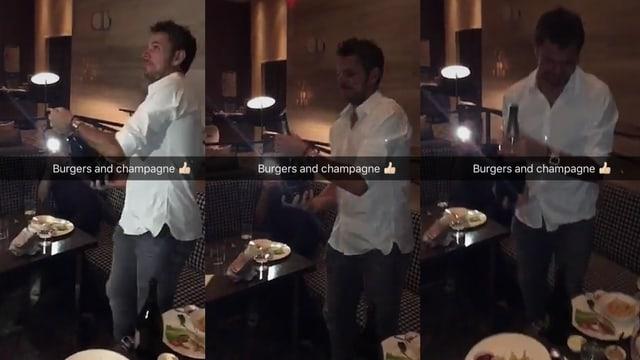 Drei Bilder aneinander: Wawrinka im weissen Hemd öffnet eine Champagner-Flasche