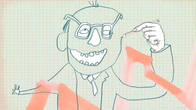 Eine sehr unbeholfen gezeichnete Strichfigur. Nur die Hand ist schön und realistisch gezeichnet. Sie hält einen Stift und zeichnet den Rest der Figurselbst