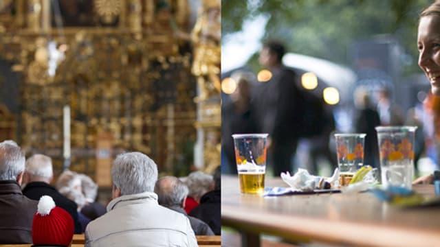 Bildmontage: Messebesucher auf dem Kirchenbank, Festbesucherin mit Bier am Festbank