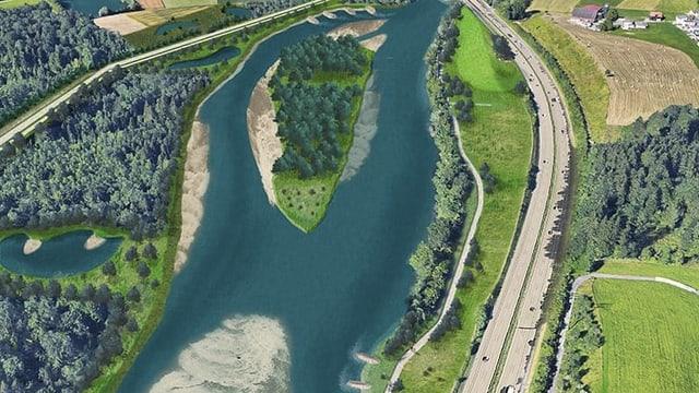 Visualisierung des Hochwasserschutz-Projekts