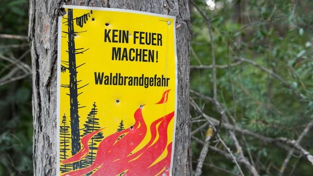 Plakat mit Aufschrift «Kein Feuer machen. Walbrandgefahr»