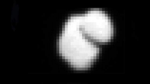 Der Komet in pixeliger Grossaufnahme.